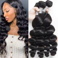 Human Hair Bundles Loose Wave Remy Extensions Brazilian Peruvian Malaysian Indian Weaves for Black Woman 8-30 Inch Long