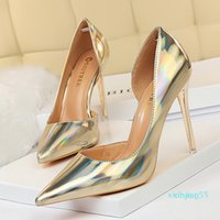 size 34 to 43 sexy bridesmaid wedding shoes gold silver metal high heel designer pumps prom gown dress shoes