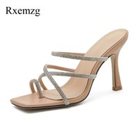 Slippers Rxemzg Summes Shoes Woman Thin High Heels Sexy Summer Sandals Fashion Rhinestone Slides Ladies Pumps Party Wedding Crystal Mules