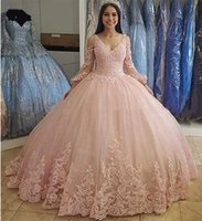 V Neck Ball Gown Quinceanera Dresses Long Sleeves Lace Applique Tulle Vestidos De 15 Anos Sweet 16 Prom Formal Party Gowns