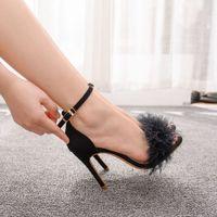 Sandals Women's summer queen sandals, soft peep toe stilettos, high skin heels, women's wedding shoes, size 42. 6DWS