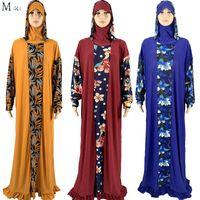 Ethnic Clothing 2021 African 1 Pieces Sudi Robe Hijab Dubai Islmic Floral Abaya Dress For Musulman Femme Moroccan Caftan Muslim Clothes