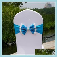 Ers Textiles Home & Gardenpaillette Wedding Er Sashes Elastic Spandex Chair Band Bow With Buckle For Weddings Event Party Aessories Drop Del