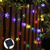 Solar Lamps Peach Flower Lamp Garlands 5 7 12m String Light Power LED Fairy Lights 6V For Outdoor Garden Home Courtyard Xmas Decor