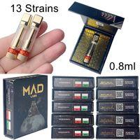 MAD LABS ATOMIZERS VAPE 카트리지 포장 0.8ml 510 세라믹 카트리지 카트리트 빈 두꺼운 오일 DAB 펜 왁스 기화기 E 담배 13 균주