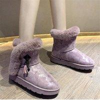 AGUTZM caldo inverno stivali da neve rosa fondo rotondo punta donna stivaletti piatti stivaletti antiscivolo donne zapatos mujer botas y938 k0ke #