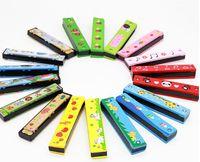 Armónica pintada de madera Instrumento de iluminación infantil Infantil Educación temprana Juguetes educativos Harmonica Toys Gift Cultivate Talent