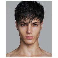 Short Men Straight Synthetic for Male Hair Fleeciness Realistic Natural Black Simulate Human Scalp Toupee Wigs