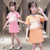 2021 Nouvelle mode enfants T-shirts en coton de coton fantaisie manches courtes T-shirt avec locations de style longues vêtements d'été pour jeunes filles Recg