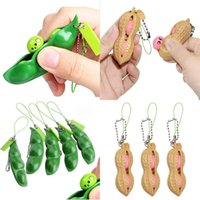 designer pop Keychain Accessories peanut Fidget Toy Favor edamame luxury Key chain Party Squeeze decompression brown Peanuts vent Ball green Pea Toys