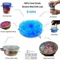 Drinkware Lid 6pcs set silicon stretch lids universal Silicone food wrap bowl pot lid cover pan cooking Kitchen accessories drop 8IKB INO2