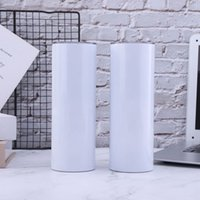 20oz Sublimation Skinny Tumblers Straight Blanks Stainless Steel Coffee Mugs With Lid and Plastic Straw Sippy Cups CYZ3218 80Pcs