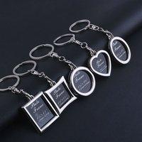 Creative DIY Custom Personality Couple Family Photo Frame Keychain Mini Heart Square Round Oval Insert Photo Frame Key Ring