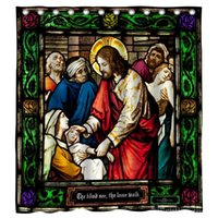 Shower Curtains Jesus Healing Stained Glass For Bathroom Sets Fabric With Hooks Watercolor Abstract Ink Machine Washable