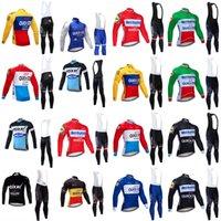 빠른 단계 팀 사이클링 긴 소매 유니폼 (턱받이) 가을 빠른 건조 긴 소매 사이클링 의류 도로 자전거 운동복 Y21031625