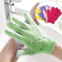 Hot chuveiro luvas de banho esfoliating wash spa massagem massagem esfrega corporal luva de rolha 7 cores macias luvas de banho presente frete grátis EWF5491