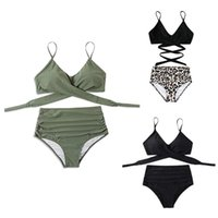 One-Piece Suits 2021 Women Sexy 2 Piece Solid Color Bikini Set Criss Cross Lace-Up Padded Bra Swimsuit Ruched High Waist Thong Bathing Suit