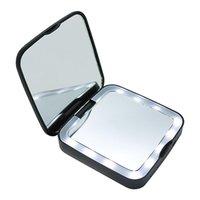 Компактные зеркала 10 см 5X увеличительное светодиодное косметическое зеркало, плоскости макияж зеркало складной портативный карман 15 ламп бусин, Power Bank