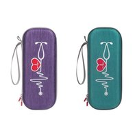 Storage Bags 2PCS Carrying Case For Littmann Classic Iii Stethoscope Protect Pouch Sleeve Box Protection Case(Purple & Green)