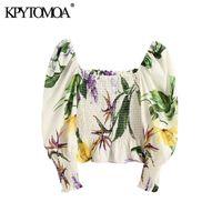 KPYTOMOA Kadınlar Moda Çiçek Baskı Ruffled Kırpılmış Bluzlar Vintage Fener Kol Elastik Smocked Kadın Gömlek Chic Tops 210225