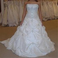 2021 New Stock Crystal Strapless Ball Gown Wedding Dresses with Appliques Beaded Cheap Plus Size Bridal Gowns BM67