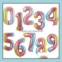Другие события Праздничная вечеринка Главная Гардпартики поставляет Helium Balloon 40 дюймов Золото Номер Алюминиевые Покрытия Воздушные шары День рождения Украшения Wedd