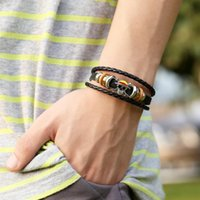 Charm Bracelets Fashion Wholesale Punk Style Leather X Skull Handmade Woven Bracelet With Clasp For Men Jewelry Gift