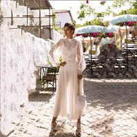 Other Wedding Dresses Boho Appliques Lace Short Tea-Length White Dot Tulle Long Sleeves Beach Bridal Gowns Princess 2021