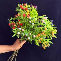 Bir Sahte Milan Çiçek Meyve Plastik Yeşillik Bitki Ağacı Kök Şubeleri Simülasyonu Düğün Ev Dekoratif Yapay Çiçek Için