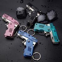 Fire Weapons Desert Eagle Folding Keychain Boy Simulation Pistol Car Keyring Rubber Band Gun Kids Toy Pendant Keychains
