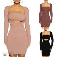 2021 Casual Dresses Imbute Kleid Set feste Farbe langärmlig eng anliegend + umwickelte Brust zweiteiliger sexy quadratischer Nacken Slim-Fit Hüfte Lulu365
