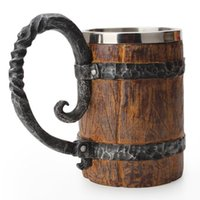 Mugs Simulation Wooden Barrel Beer Double Wall Drinking Mug Metal Stainless Steel Liner Insulated Tumbler