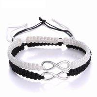 Charm Bracelets 2pcs Infinity Braided Bracelet Set Friendship Love Couples Handmade Fashion Black White Jewelry Gift Wholesale