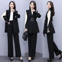Temperamento vestito professionale femmina 2021 Autumn New Fashion Fashion One Fibbia A Sashing Blazer Giacca Gamba larga Pantaloni a due pezzi Y540