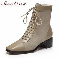 MEOTINA Winter Knöchelstiefel Frauen Natürliche Echtes Leder Reißverschluss Dicke Fersen Kurzstiefel Lace Up Square Toe Schuhe Damen Fall 34 39 Stiefel G3BQ #