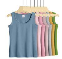 Bayan Spor BodyBuilding Kolsuz T Gömlek 2021 Kadın Spor Rahat Saf Renk Yok Sleeve Tişörtleri Yaz Giyim
