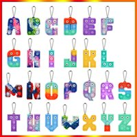 Chirstmas Alphabet Letters Pop Push Key-chain Party Favor Cell Phone Straps Silicone Letter Sensory Bubbles keyring Simple Dimple In stock
