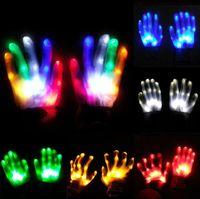 Fête Christmas Cadeau LED Coloré Rainbow Gants rougeoyant Nouveauté Main Bones Étape Magic Finger Show Dance fluorescente Gant de clignotant RRF8717