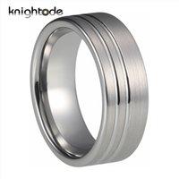 6mm 8mm tungstênio carboneto de casamento banda 2 anel de noivado do sulco para homens aparelho escovado plano ajuste J1208
