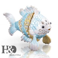 HD اليدوية صناديق الأسماك الاستوائية الصناديق الكريستال bejeweled الحيوان تمثال تحصيل مفصلات مربع مجوهرات تذكار هدية عيد 210929