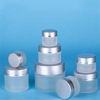 5G 10G 15G 20G 30G 50G Frosted Glass Kosmetische Jar Leere Gesichtscreme Lagerbehälter Nachfüllbare Probenflasche mit Silberdeckeln