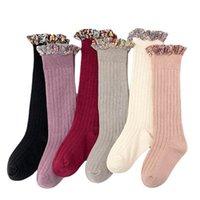 Meninas meias bebê meias de algodão flor kids knit knee alto meias vintage longos crianças meia criança toddler roupas princesa roupa b3999