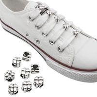 10 PCS 신발 버클 장식 금속 4 잎 클로버 DIY 클립 링 매력 신발 끈 선물 액세서리 끈