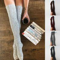 Women Lady Wool Warm maglia calda sopra il ginocchio Coscia calze calze calze collant collant 387 y2