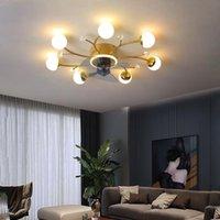Ventilateurs de plafond Ventilateur LED moderne avec application d'éclairage et télécommande, salle à manger, lampe de chambre à coucher