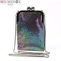 Kvällspåse mode märke iridescence aluminium väska kvinnor bröllopsfest axel vacker telefon plånbok för presentkedja