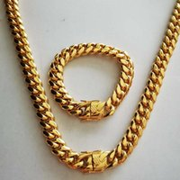 Earrings & Necklace S Arrival Stainless Steel Curb Cuban Chain Bracelet Boys Mens Miami Dragon Clasp Link Jewelry Sets