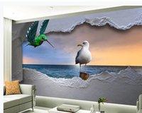 Carta da parati stereoscopica stereoscopica in stile europeo 3D Sea tridimensionale volante uccello tramonto scenario sfondi sfondo muro di sfondo