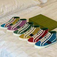 Mens Tenis 1977 Baskı Renkli Tasarımcı Ayakkabı Yüksek Üst Çizmeler Düşük Üst Vintage Sneaker Dantel-up Web Şerit Tuval Platformu Açık Bayan Rahat Ayakkabı
