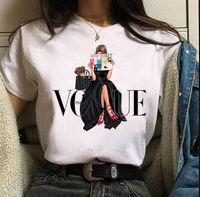 Бесплатная доставка мода женская футболка красные высокие каблуки обувь и помада печати Vogue футболка женская хараджуку топы Tee 90s дамы футболки т